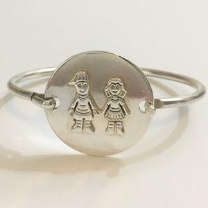 Jewelry - Sterling Silver 925 Bangle Faceplate Boy Girl
